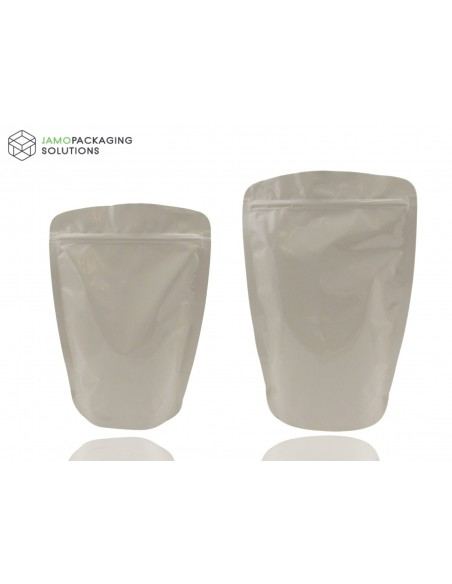 Beige Aluminium Stand Up Pouch with Zip Lock Natural Look, Rounded Corners