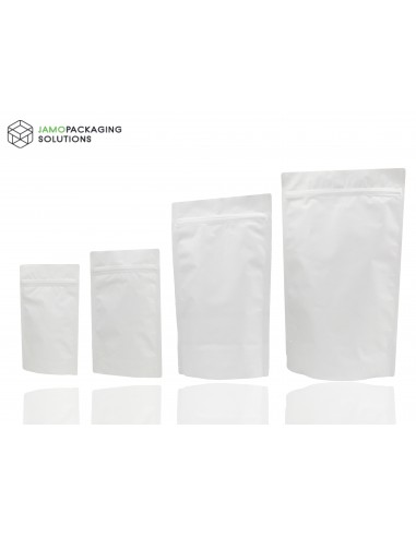 Heat Seal White Aluminium Foil Stand Up Bags / Pouches Zip Lock Bag Food Grade