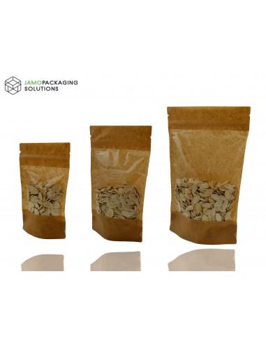 Window Stand Up Pouch Zip Lock Resealable Heat Seal Display Kraft Paper Bag