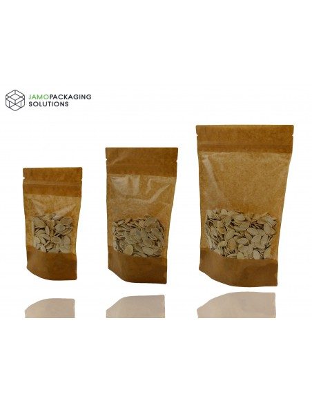 Kraft Paper Stand Up Pouch with Window and Tear Notch