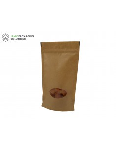 KRAFT PAPER STAND UP PLASTIC WITH OVAL WINDOW SEALABLE POUCH ZIP LOCK