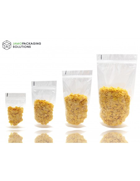 Transparent, Clear, Stand Up Pouch with Ziplock, Heat Seal