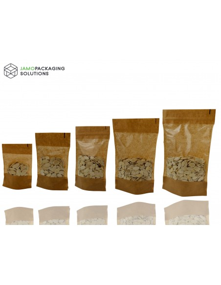 Kraft Paper, Window, Stand Up, Plastic, Sealable Pouch with Ziplock, Heat Seal