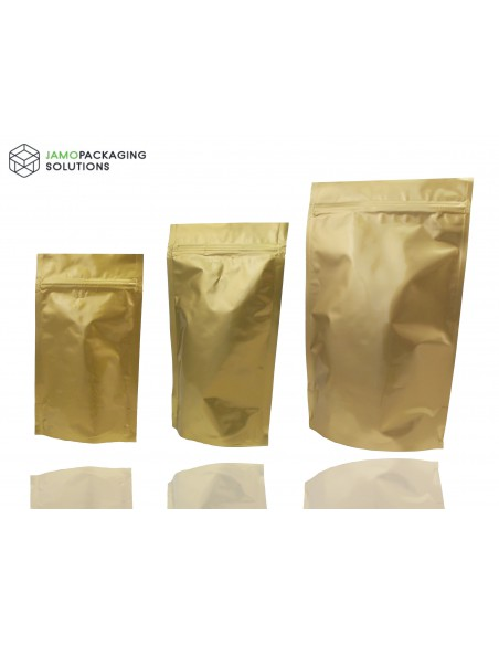 STAND UP ALUMINIUM POUCH-GOLDEN/ HEAT SEAL /ZIP LOCK 250 500 1000 ml/FOOD GRADE