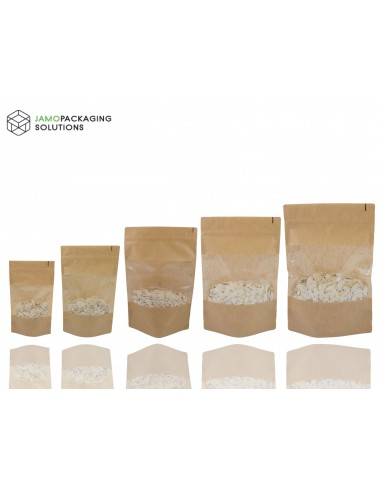 KRAFT PAPER WINDOW STAND UP PLASTIC SEALABLE POUCH FOOD GRADE