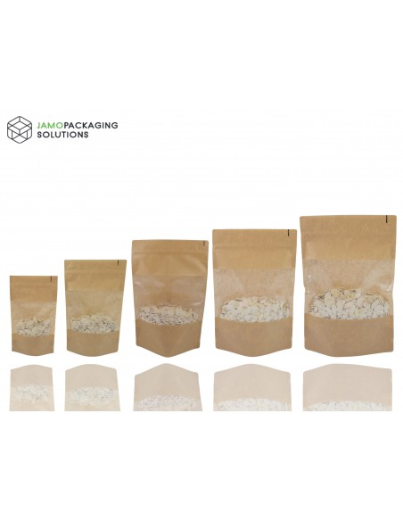 Kraft Paper, Window, Stand Up, Plastic, Sealable Pouch