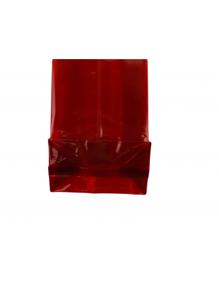 Red See through Heat Seal Gusset pouch/bag with clear block bottom gift food