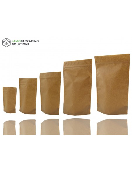 Kraft Paper, Stand Up, Sealable, Pouch for Coffee, Seeds, Nuts, Heat Seal