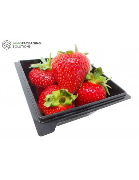 Square Black Transparent Salad Food Meal Container Box Bowl Disposable
