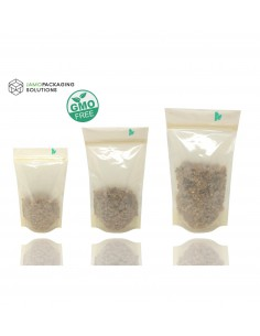 Fully Biodegradable BIO Stand Up Transparent Pouch with Zip Lock Heat Seal
