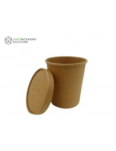 Kraft Paper Eco Soup Cup with Vented Lid Takeaway Hot Food Microwave